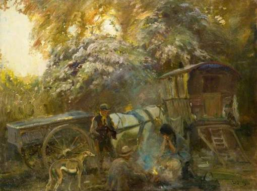 Munnings, Alfred James, 1878-1959; A Gipsy Campfire