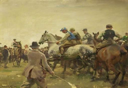 Munnings, Alfred James, 1878-1959; Start of St Buryan Races, Cornwall