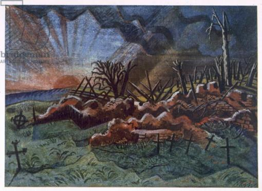 Sunrise, Ruins of a Hospice, north west of Wytschaete, destroyed by bombardment in 1917, from British Artists at the Front, Continuation of The Western Front, Part Three, Paul Nash, 1918 (colour litho)