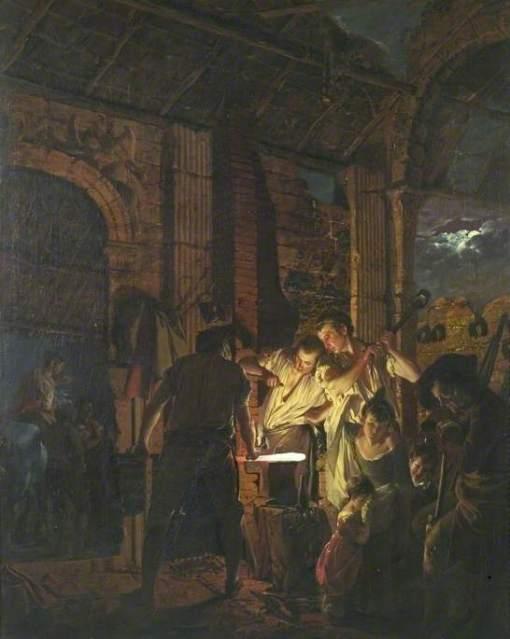 Wright of Derby, Joseph, 1734-1797; The Blacksmith's Shop
