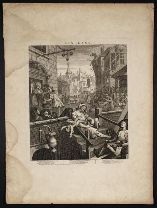 Gin Lane 1751 by William Hogarth 1697-1764