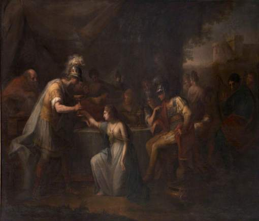 Kauffmann, Angelica, 1741-1807; Vortigern, King of Britain, Enamoured with Rowena at the Banquet of Hengist, the Saxon General