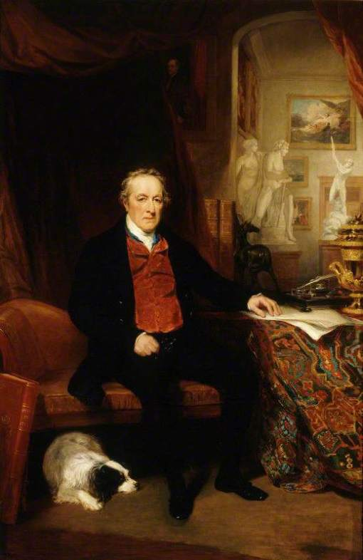 Phillips, Thomas, 1770-1845; George O'Brien Wyndham (1751-1837), 3rd Earl of Egremont, in the North Gallery, Petworth