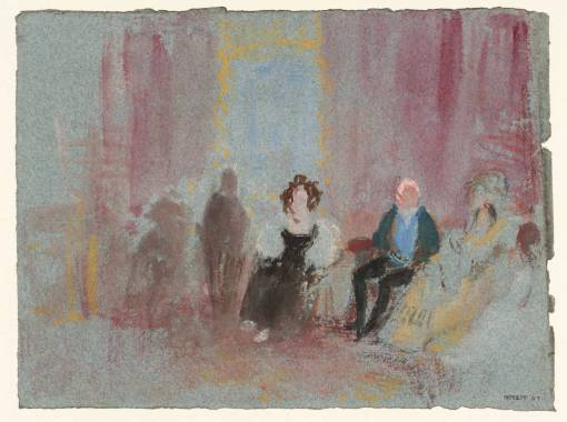 Petworth House:Figures in the White Library, possibly Lord Egremont 1827 by Joseph Mallord William Turner 1775-1851
