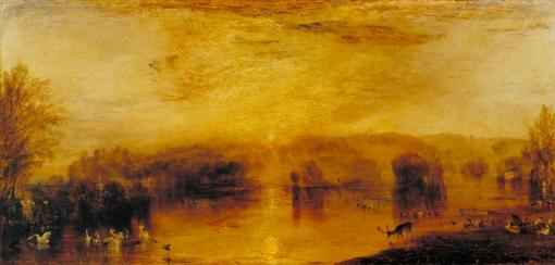 The Lake, Petworth: Sunset, a Stag Drinking c.1829 by Joseph Mallord William Turner 1775-1851