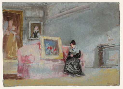 A Lady in a Black Silk Dress Seated on a Pink Sofa 1827 by Joseph Mallord William Turner 1775-1851