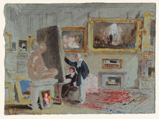 Two Artists in the Old Library: Washington Allston's Picture, 'Jacob's Dream', Hanging over the Fireplace ('The Artist and the Amateur') 1827 by Joseph Mallord William Turner 1775-1851