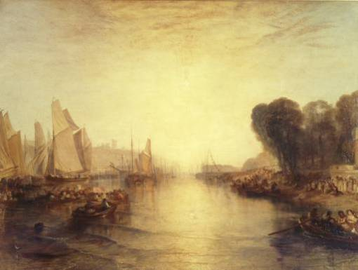 East Cowes Castle, the Seat of J. Nash, Esq.; the Regatta Starting for their Moorings exhibited 1828 by Joseph Mallord William Turner 1775-1851
