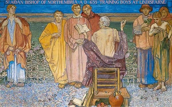 Brangwyn, Frank, 1867-1956; St Aidan, Bishop of North Cumbria, AD 635 Training Boys at Lindisfarne