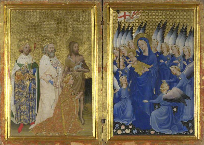 British (English) School|French School; Richard II presented to the Virgin and Child by his Patron Saint John the Baptist and Saints Edward and Edmund ('The Wilton Diptych')