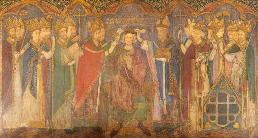 Tristram, Ernest William, 1882-1952; Reconstruction of Medieval Mural Painting, Coronation of Edward the Confessor