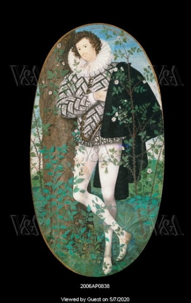 A Young Man Leaning Against a Tree Amongst Roses, by Nicholas Hilliard. England, c.1585-95