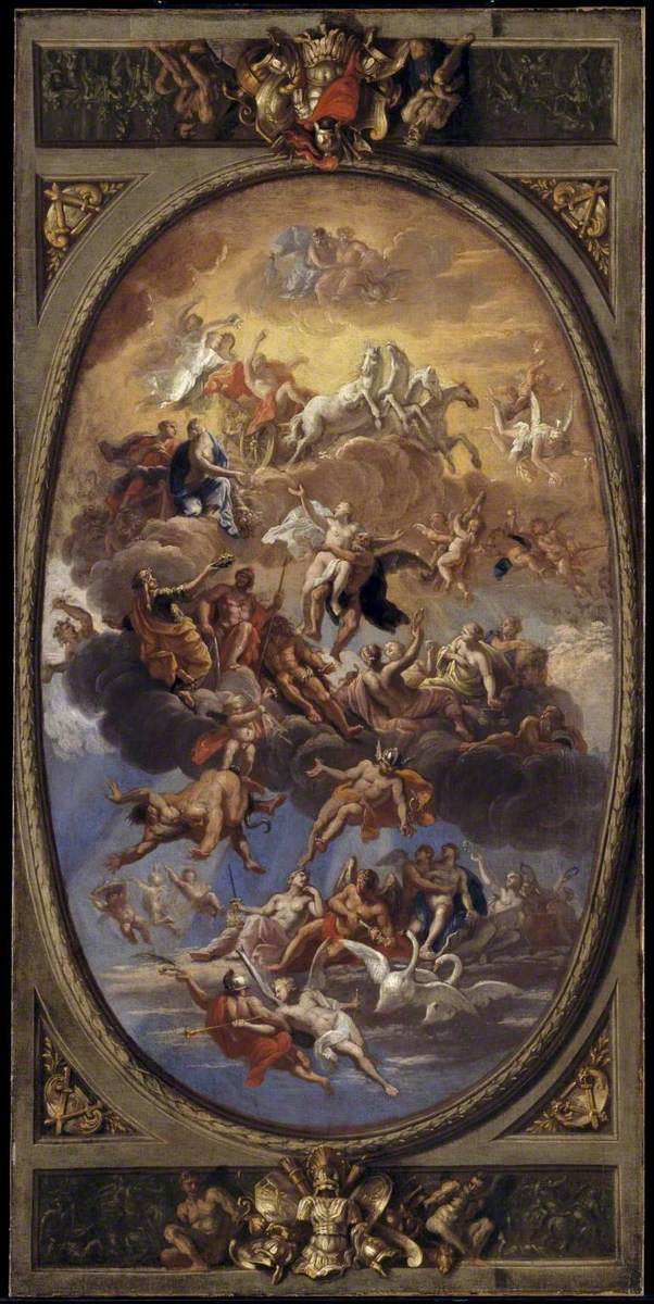 Verrio, Antonio, c.1636-1639-1707; Sketch for a Ceiling Decoration: An Assembly of the Gods