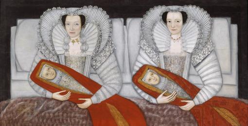 The Cholmondeley Ladies c.1600-10 by British School 17th century 1600-1699
