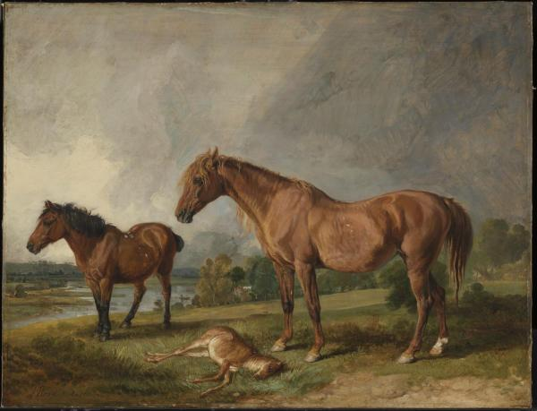 Portraits of Blackthorn, a Broodmare, with Old Jack, a Favourite Pony, the Property of E. Mundy, Esq. 1812 by James Ward 1769-1859