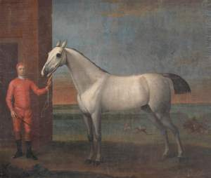 Wootton, John, c.1682-1764; A Grey Horse and Jockey in Red Colours, before a Stable