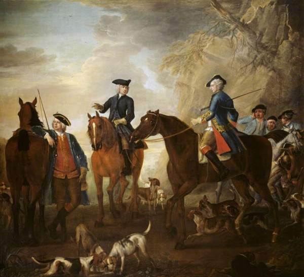 Wootton, John, c.1682-1764; Viscount Weymouth's Hunt: Mr Jackson, the Hon. Henry Villiers and the Hon. Thomas Villiers, with Hunters and Hounds