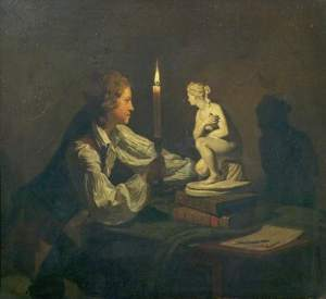 Wright of Derby, Joseph, 1734-1797; A Boy Admiring a Statuette by Candlelight
