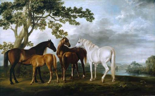 Stubbs, George, 1724-1806; Mares and Foals in a River Landscape