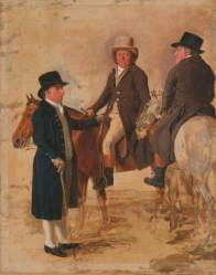 Marshall, Benjamin; John Hilton, Judge of the Course at Newmarket; John Fuller, Clerk of the Course; and John Stevens, a Trainer; Yale Center for British Art; http://www.artuk.org/artworks/john-hilton-judge-of-the-course-at-newmarket-john-fuller-clerk-of-the-course-and-john-stevens-a-trainer-247160