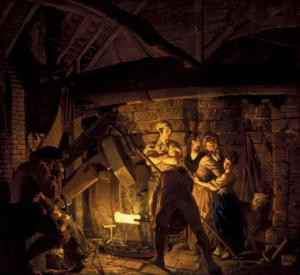 An Iron Forge 1772 by Joseph Wright of Derby 1734-1797
